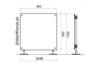 Mobile Trennwand für Schreibtisch Sichtschutz 1 x 1 m Höhe