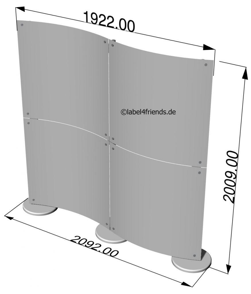 Freistehende Trennwand konkav konvex 2 x 2 m in Wellenform
