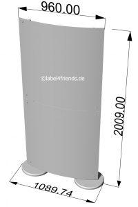 Trennwand freistehend halbrund konkav konvex Acrylglas 1 x 2 m H