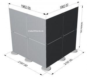 Freistehende Trennwand Kabine Ecklösung 2 x 2 m für Praxen oder Büros
