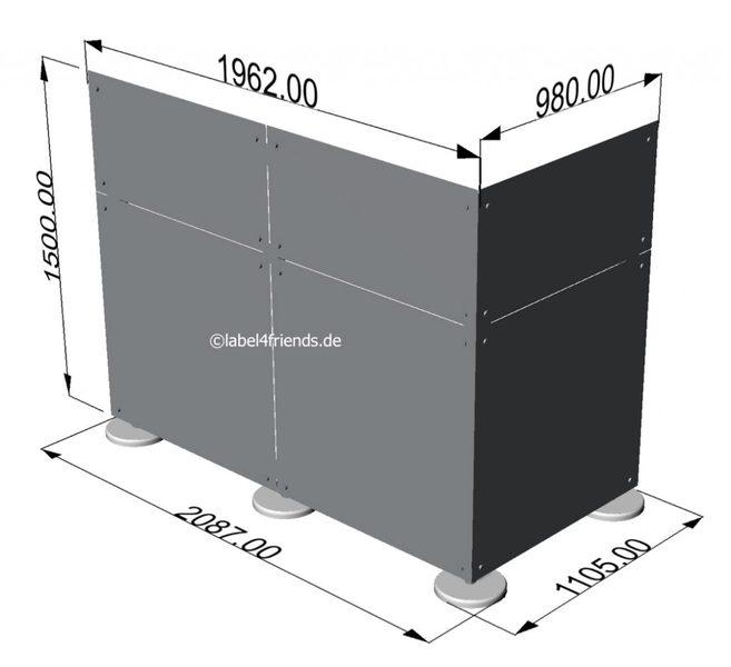 Freistehende Schreibtisch Trennwand 1,50 m Höhe L-Form