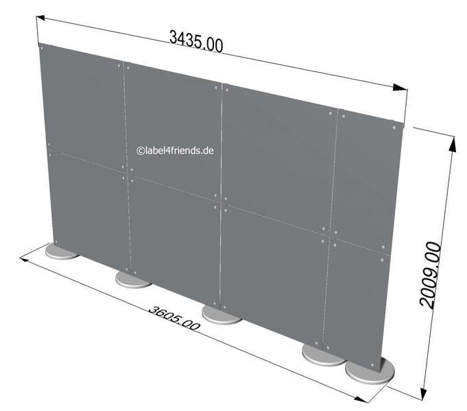 Freistehende Trennwand für Büro oder Praxis 3,50 m B x 2 m Höhe