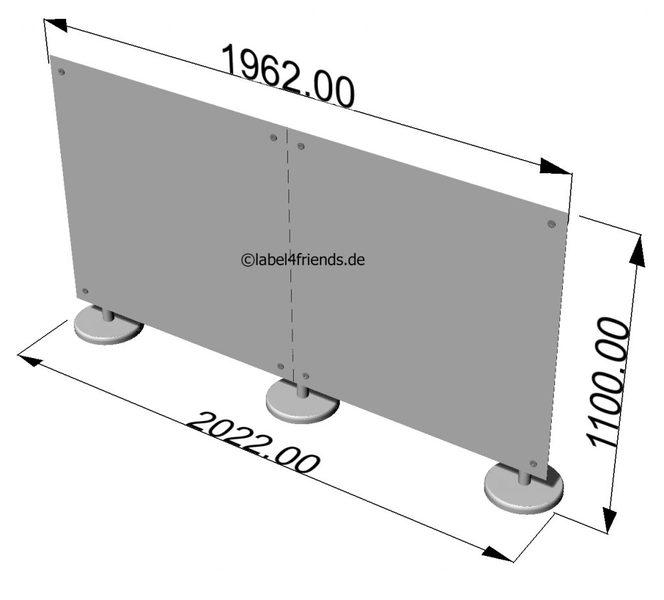 Trennwand freistehend Schreibtisch Hygieneschutz 2 m B x 1 m Höhe